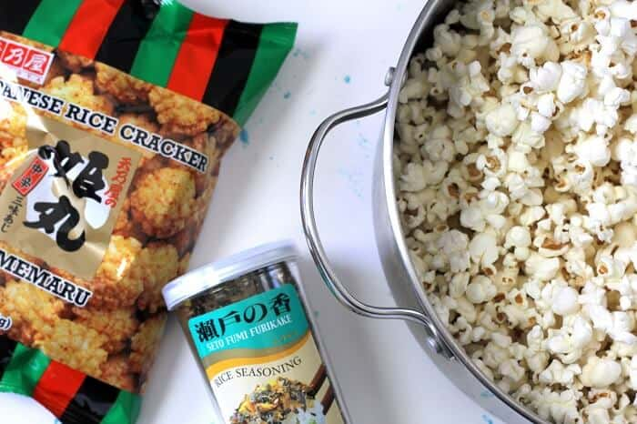 These are some of the brands of arare (rice crackers) and furikake (seaweed seasoning) when I make hurricane popcorn. #furikake #popcorn #snackideas #hawaiian