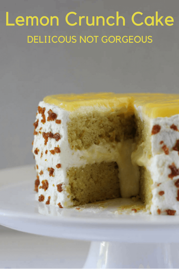 This lemon crunch cake features tender lemon cake, pastry cream, whipped cream, lemon curd and crunchy toffee bits. #lemoncake #layercake #toffee #pastrycream #whippedcream