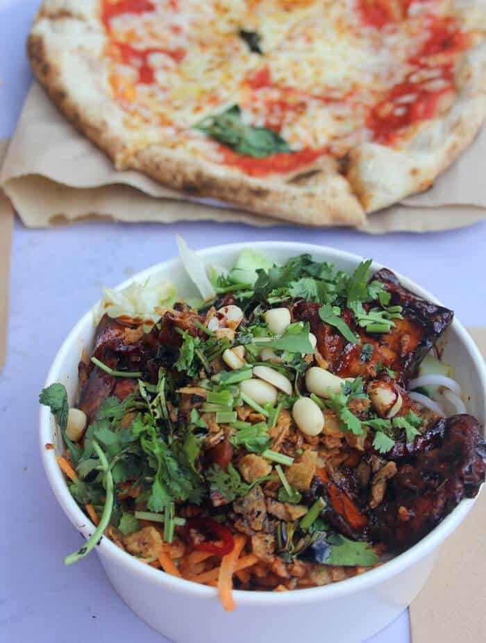 Pizza and Vietnamese vermicelli noodle salad from Camden Lock Market in London. #london #camdenlockmarket #vietnamesefood #pizza