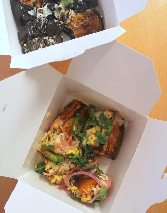 Sweet potatoes and eggplant dishes from Ottolenghi in London. #london #ottolenghi #sweetpotatoes #eggplant