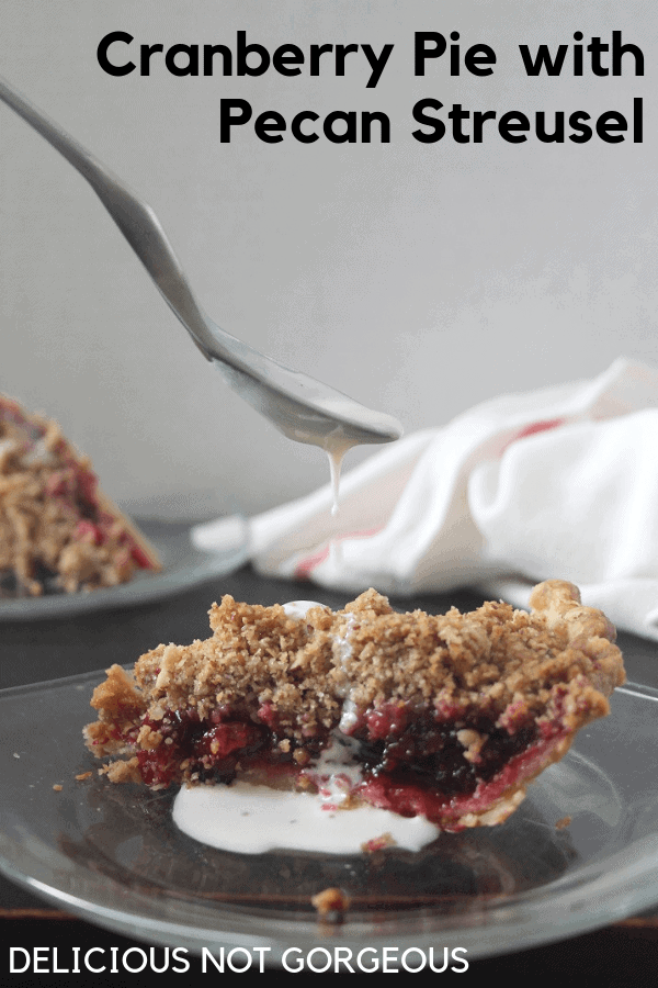 This cranberry sauce pie has a good balance of tart cranberries and buttery pecan streusel. #cranberries #cranberrysauce #pecans #pie #thanksgiving #thanksgivingdessert
