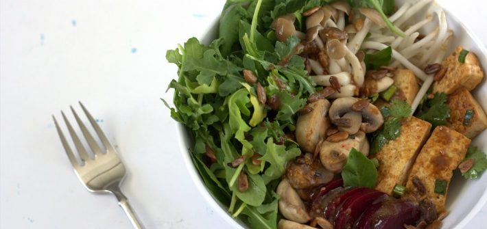 This sweetgreen Shroomami isn't a 30 minute meal, but the combination of crunchy bean sprouts, crispy tofu, tender mushrooms and gingery miso dressing is worth the time and effort. #ricebowls #mushrooms #lunch #asian