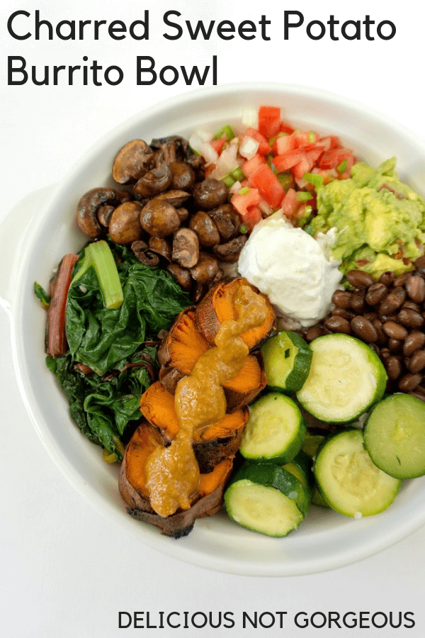 The star of this sweet potato burrito bowl is charred sweet potato: sweet, tender and smoky. #sweetpotatoes #burritobowl #mexicanfood #lunchideas #mealprep