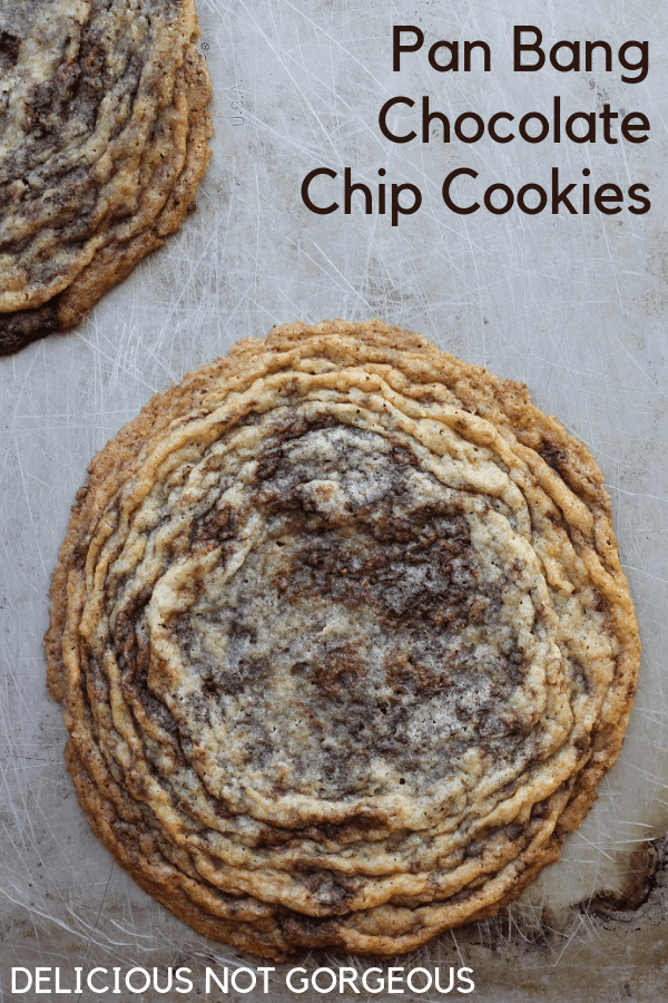 These pan banging chocolate chip cookies from Sarah Kieffer of The Vanilla Bean Blog are the perfect balance between soft, chewy, crispy cookies. #chocolatechipcookies #cookies #dessert #chocolatechips