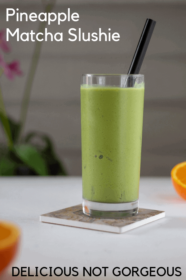No need to find a fresh pineapple! Frozen pineapple works best and gives this pineapple green tea slushie its thick, slurpable consistency. #pineapple #tea #matcha #drinks #nonalcoholic