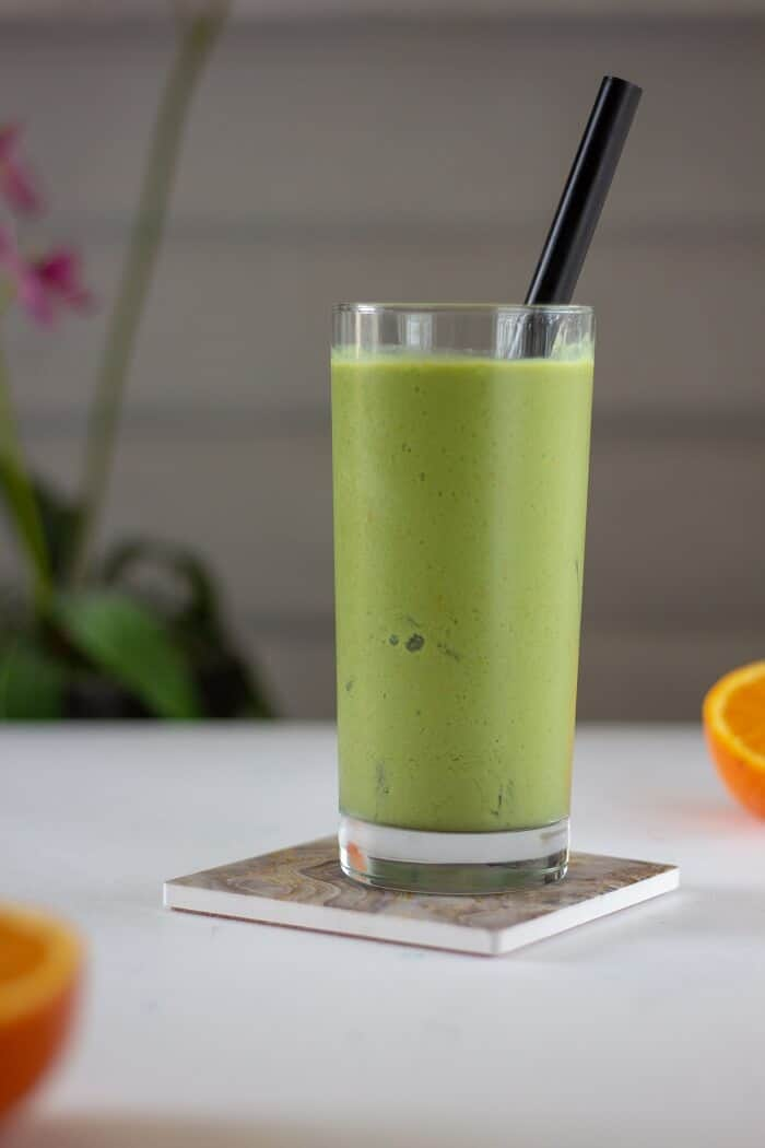 Plenty of orange juice and zest, as well as frozen pineapple (duh!), give this pineapple green tea slushie plenty of tang. #pineapple #tea #matcha #drinks #nonalcoholic