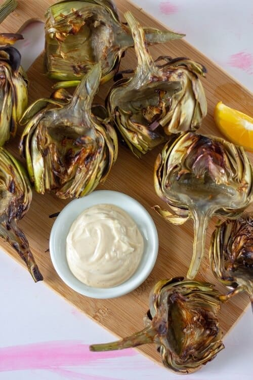 Artichokes are a little finnicky (the prep, and did you know that you have to boil them before you grill them?), but luckily this soy garlic mayo is only 3 ingredients and super easy. #soysauce #garlic #mayo #mayonnaise #sauce #condiment #dip