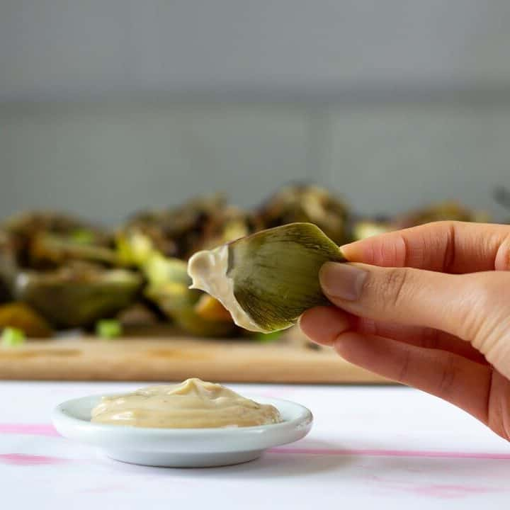 This soy garlic mayo goes really well with grilled artichokes but honestly it's tasty on any vegetable: green beans, asparagus, carrots, celery, etc! #soysauce #garlic #mayo #mayonnaise #sauce #condiment #dip