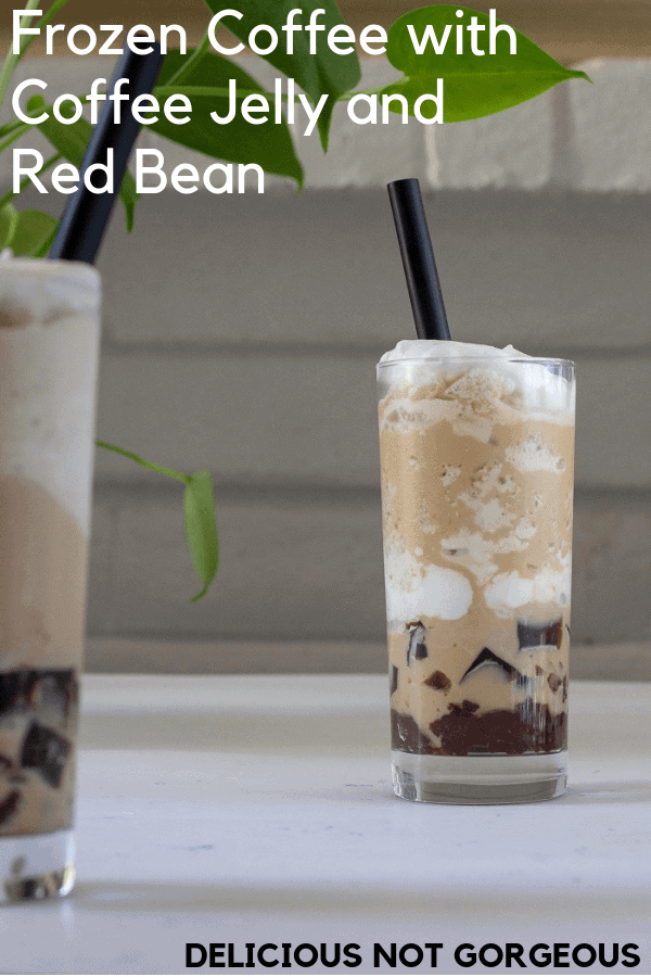 It's warming up! Aka the perfect time for slushy, frozen coffee, layered with all sorts of goodies like coffee jelly, silky almond whipped cream and sweet red bean. #coffee #frozencoffee #dessert #drinks #whippedcream