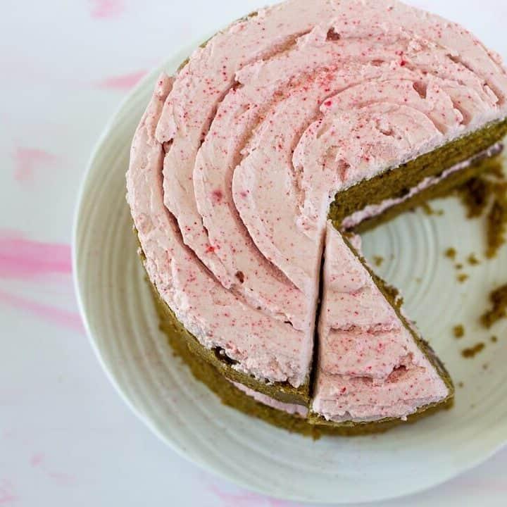 This matcha cake with raspberry rose cream is the perfect amount of decadent. #matcha #cake #raspberry #rose #whippedcream