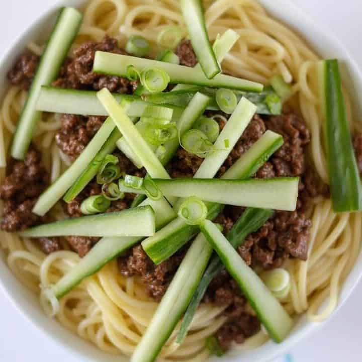 The base of the sauce for zha jiang mian comes from sweet bean sauce, which you can find in Asian or Chinese grocery stores. #chinese #asian #noodles