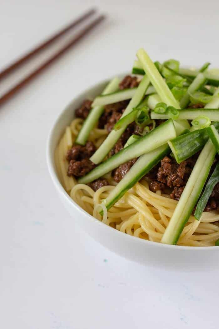 Any kind of noodle or pasta works for this zha jiang mian (in my non-traditional opinion, spaghetti or fusili work great!). #chinese #asian #noodles