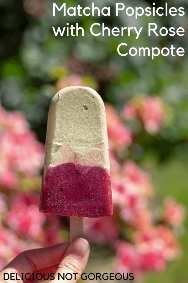 These matcha popsicles would be delicious with just the matcha, but the cherry rose compote is a deliciously fruity counterpart to the creamy matcha. #matcha #greentea #popsicles #cherry