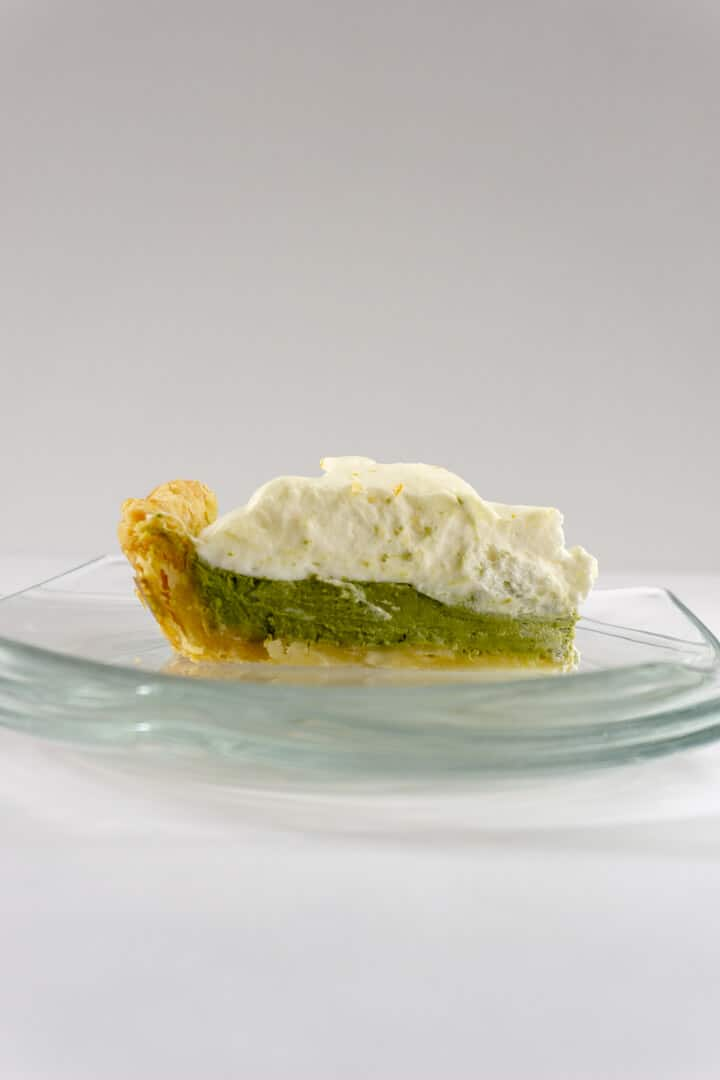 Golden brown pie crust filled with creamy green tea custard and plenty of fluffy whipped cream.