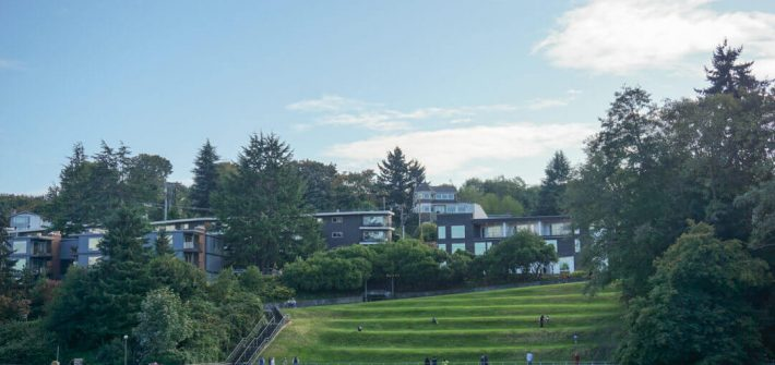 View of a park from the Hiram M. Chittenden Locks in Seattle.