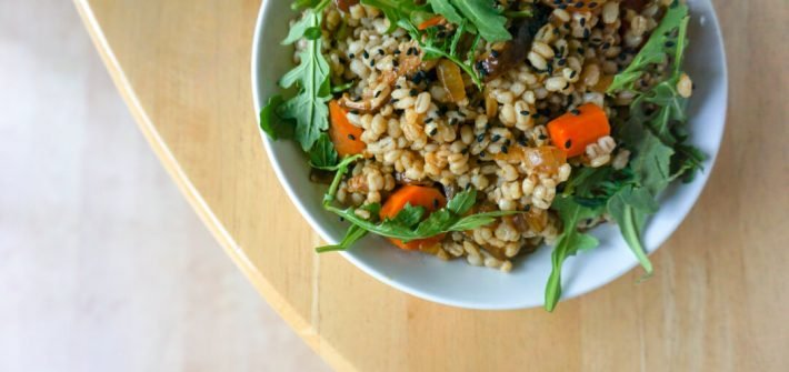 This miso barley pilaf with mushrooms is savory and hearty, perfect for lunching on a cool autumn afternoon.