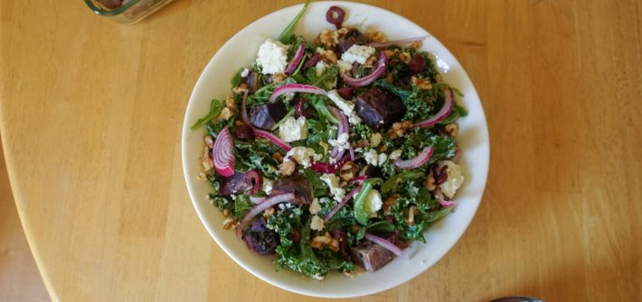 Souvla in San Francisco, CA has a vegetarian salad topped with purple sweet potatoes and other delicious tidbits.
