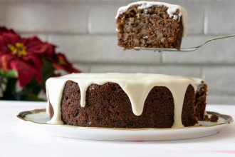 Thick slices of this spiced persimmon cake are made even more delicious with a slick of tangy, decadent cream cheese icing.