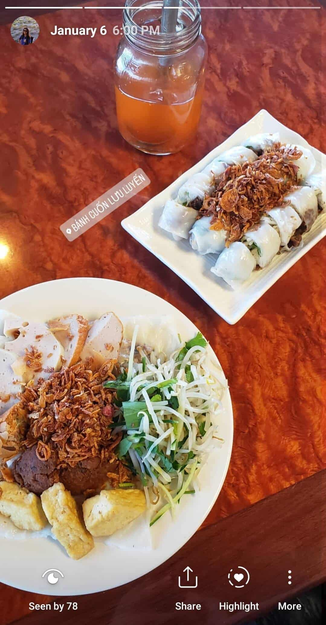 Bánh cuốn (Vietnamese steamed rice paper rolls topped with meat, veggies and crispy onions) from Banh Cuon Luu Luyen in Garden Grove, CA.