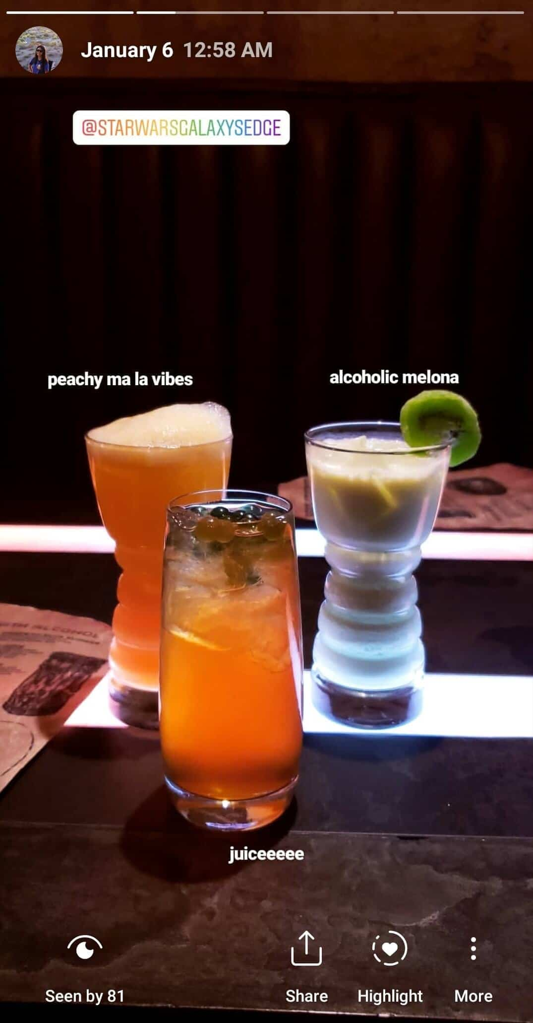 Drinks from Oga's Cantina in Disneyland's Star Wars: Galaxy's Edge.