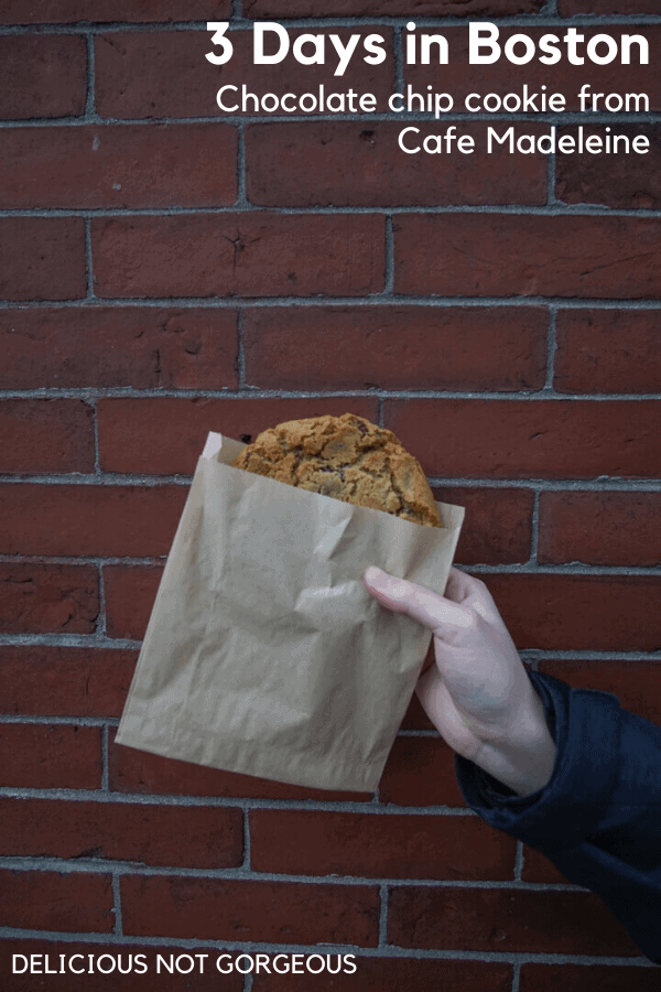 Chocolate chip cookie in a brown paper bag against a red brick wall.