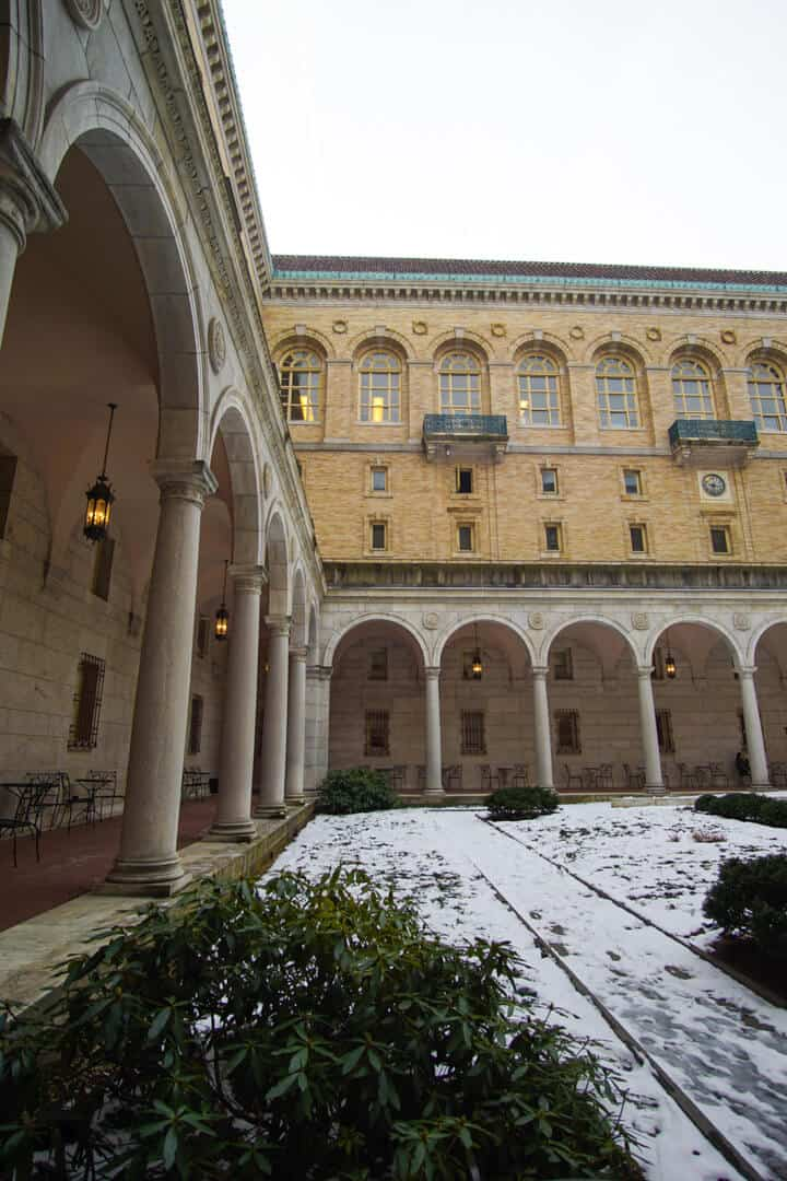 Courtyard in the Central Library in Copley Square of the Boston Public Library system.