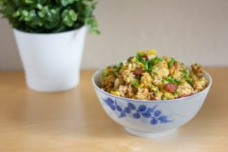 This salted fish fried rice is a tasty Cantonese way to make fried rice, and tastes savory from the salted fish (haam yu) and sausage (lap cheong).